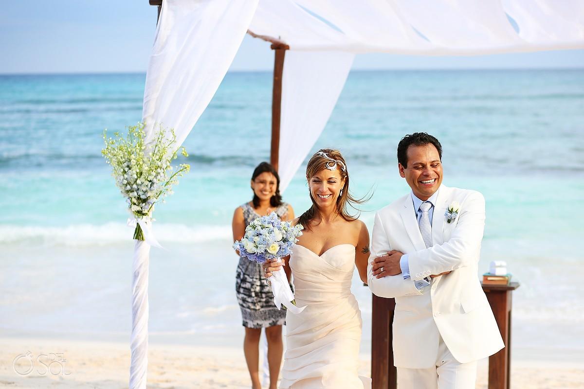 destination wedding photo at hotel esencia mexico with bride and groom