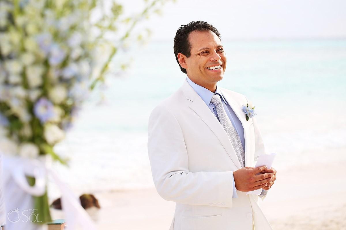 Groom in his destination wedding at hotel esencia mexico