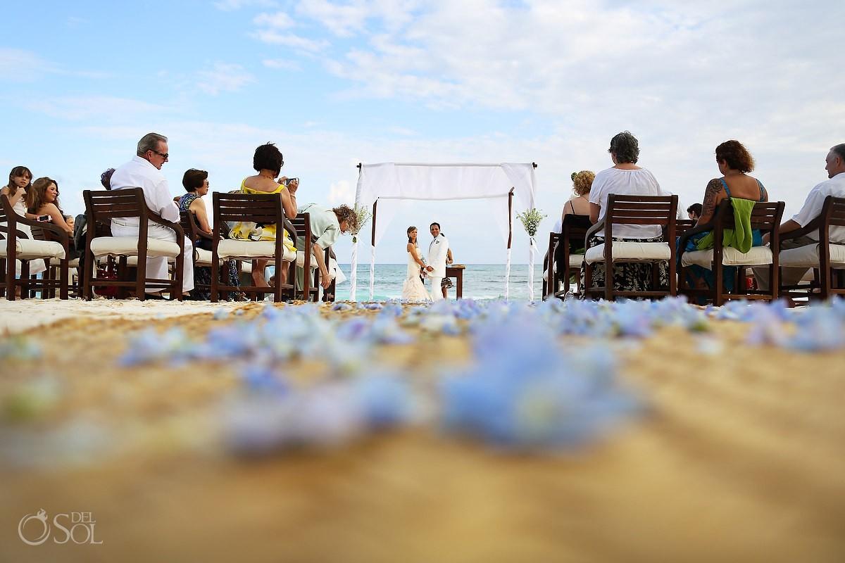 bride and groom at alter in hotel esencia destination wedding