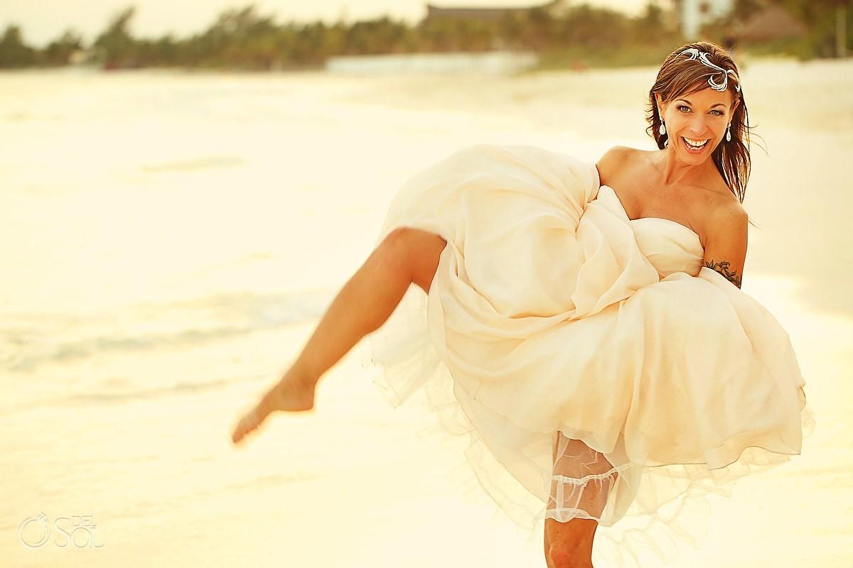 Bride posing at hotel esencia destination wedding mexico