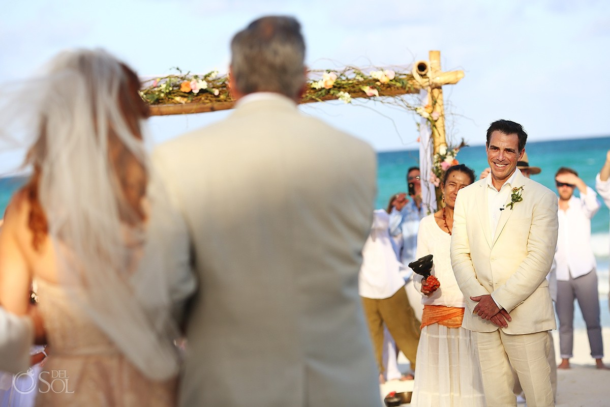 bride entrance Beach Cosmic wedding ceremony, Belmond Maroma Riviera Maya, Mexico