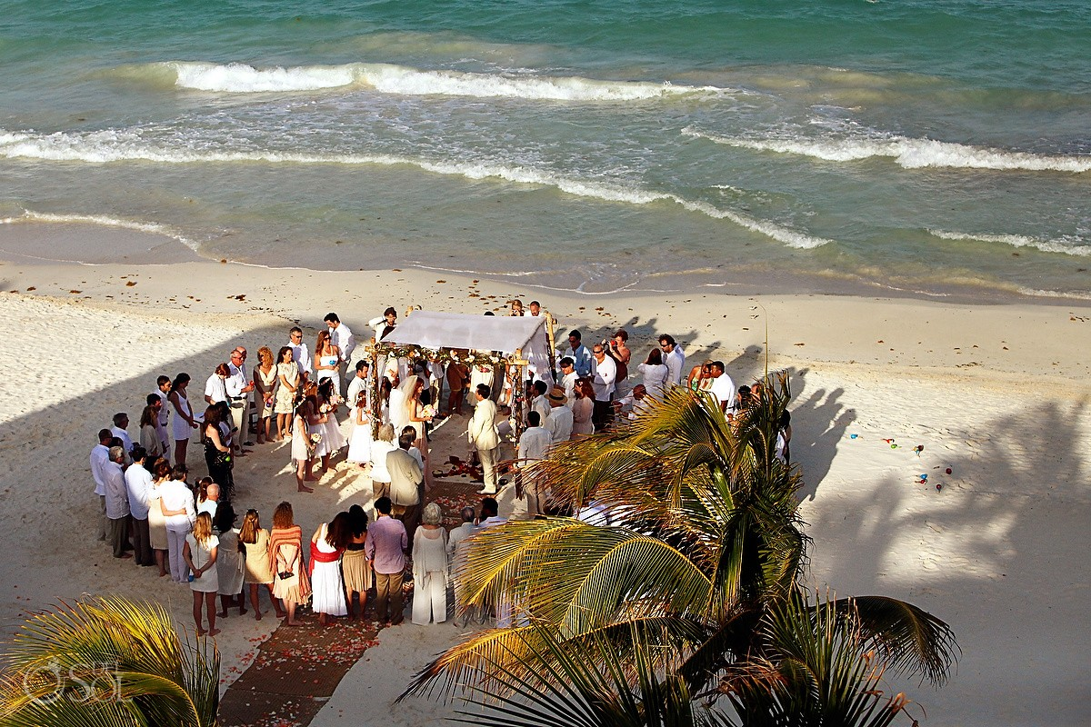 Guest circle Beach Cosmic wedding ceremony, Belmond Maroma Riviera Maya, Mexico