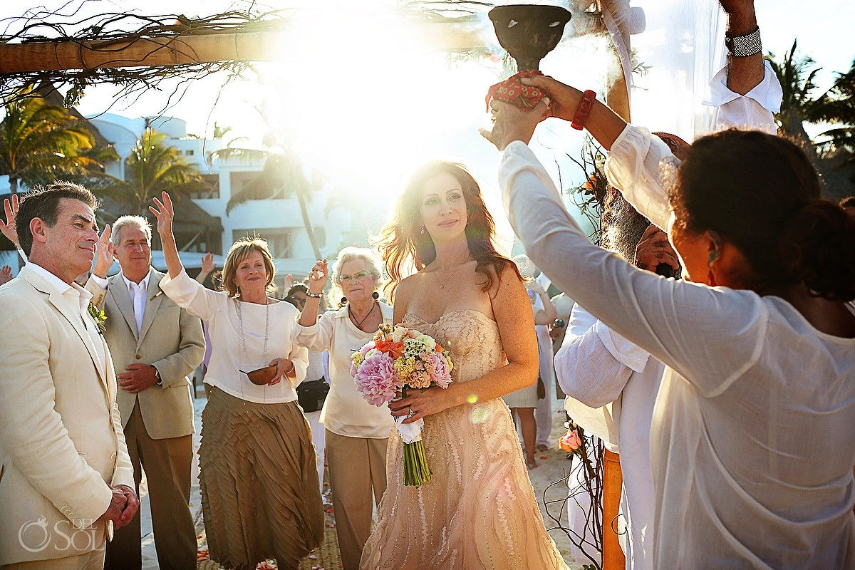 Shaman blessing Beach Cosmic wedding ceremony, Belmond Maroma Riviera Maya, Mexico