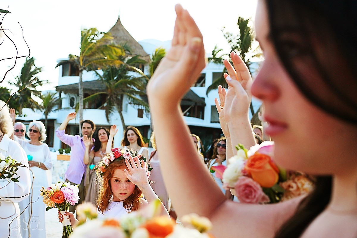 flower girl Beach Cosmic wedding ceremony, Belmond Maroma Riviera Maya, Mexico