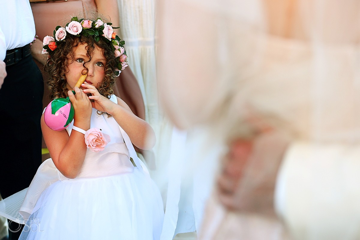 Flower girl picking nose maraca, kids will be kids, Belmond Maroma Riviera Maya, Mexico