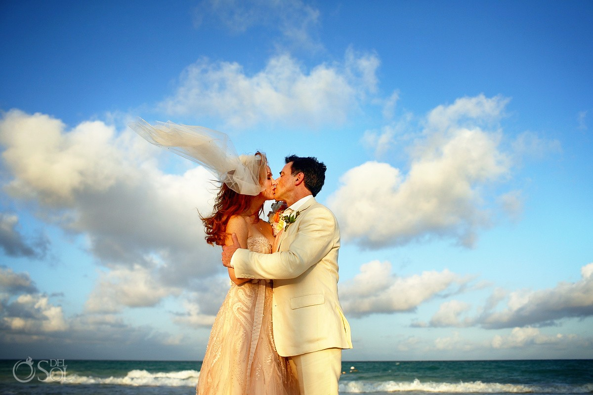 Beach wedding portrait caribbean epic blue cloud sky ocean, Belmond Maroma Riviera Maya, Mexico