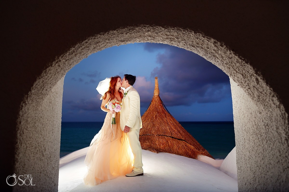 Wedding evening dusk roof Portrait, Belmond Maroma Riviera Maya, Mexico
