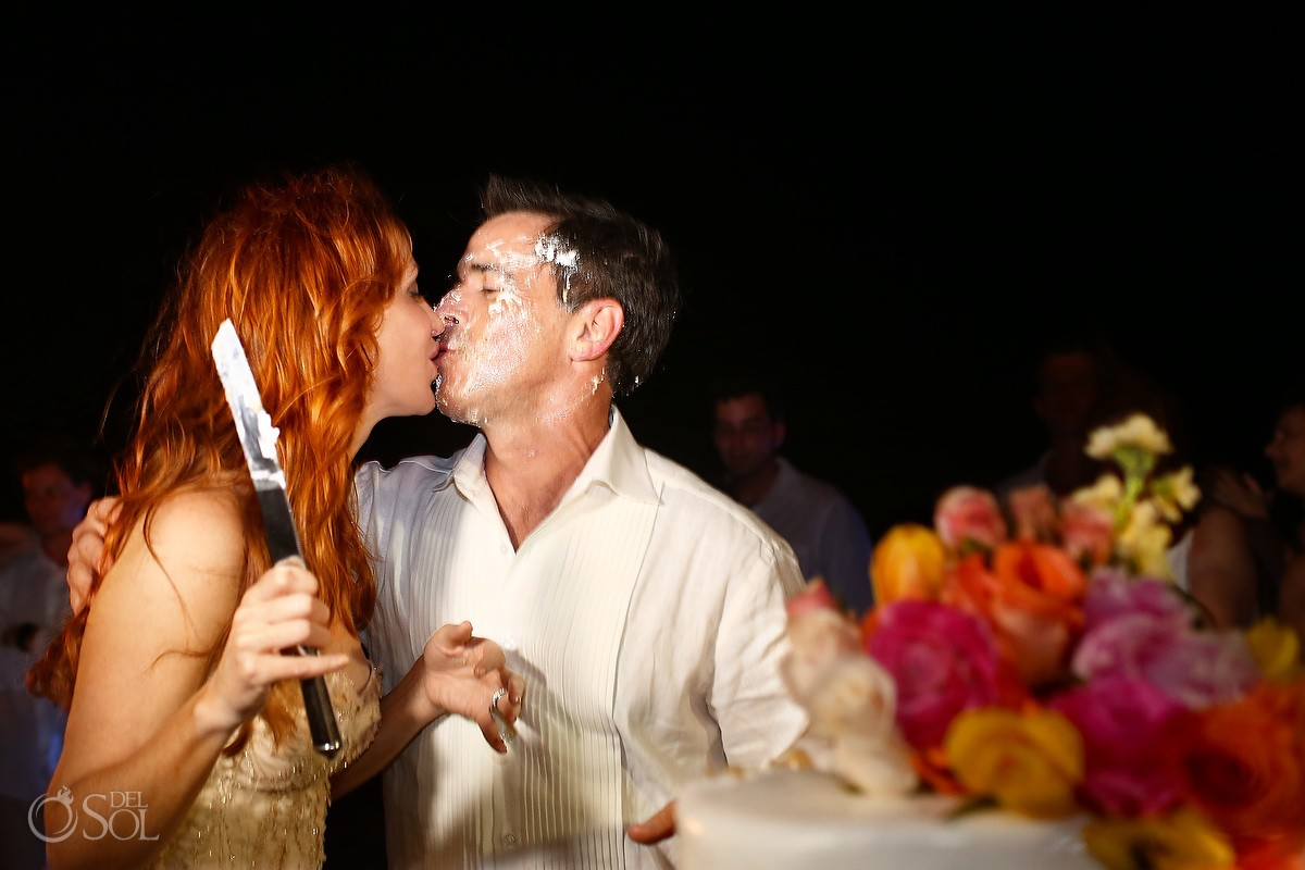 Beach wedding reception bride groom kiss, Belmond Maroma Riviera Maya, Mexico