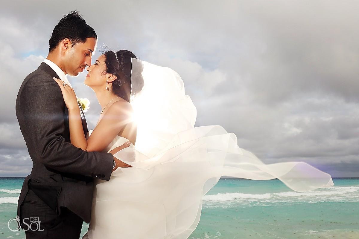 Bride and groom beach wedding Cancun