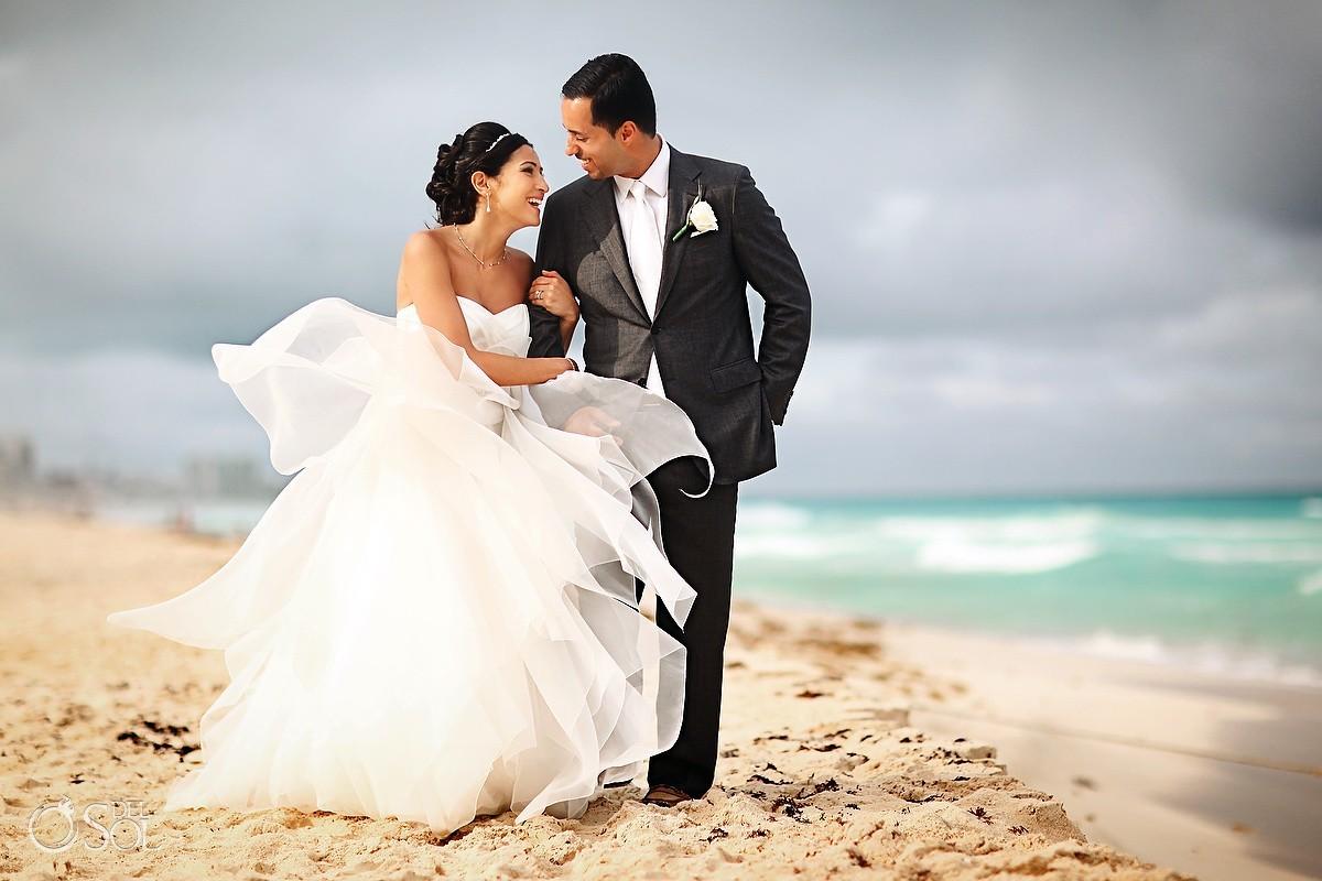 Cancun beach wedding bride and groom