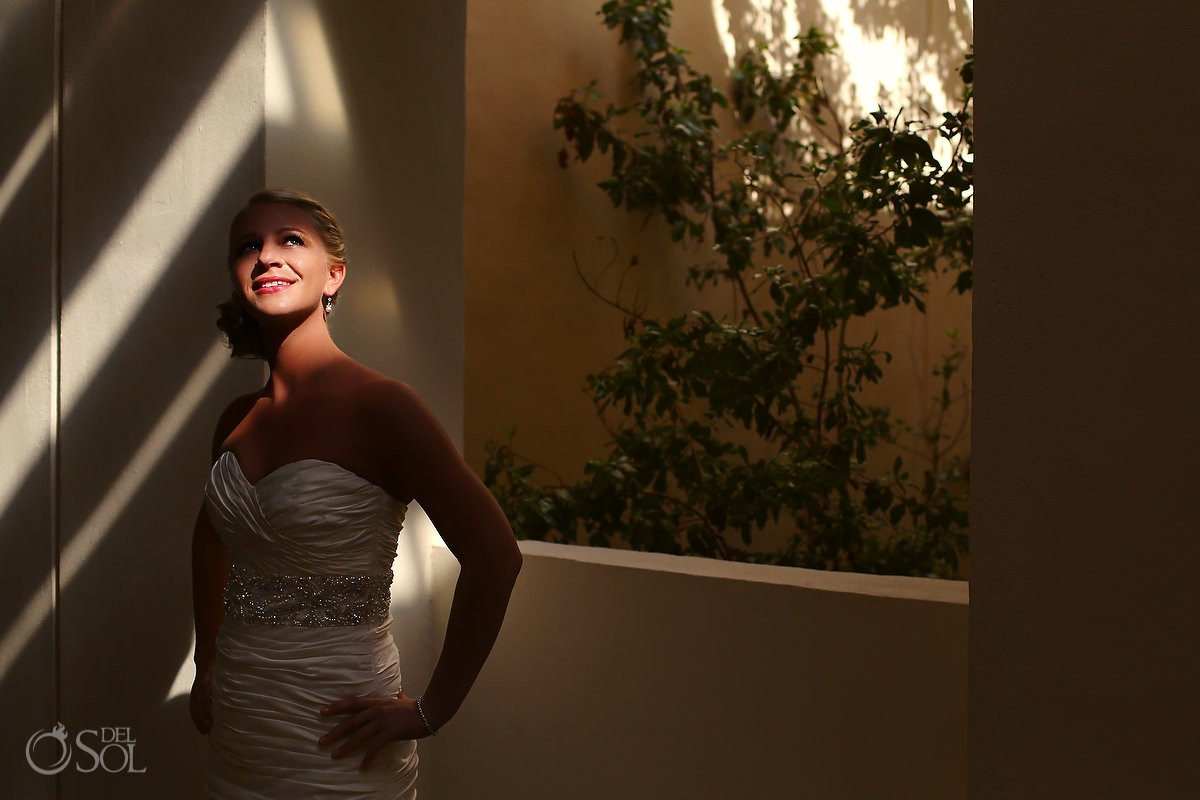 Portrait of bride in light and shadow