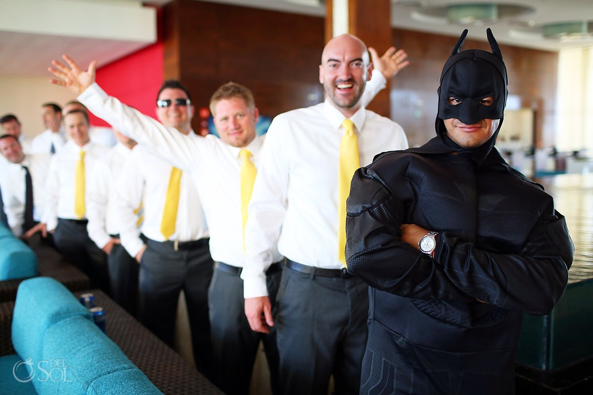 Batman with groom and groomsmen at Mexico wedding