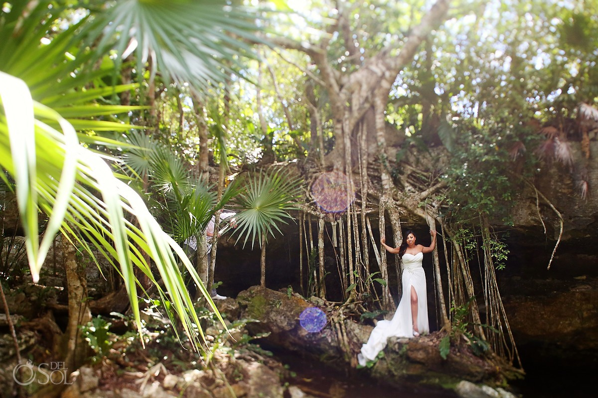 Cenote trash the dress shoot with bride and groom in the Riviera Maya