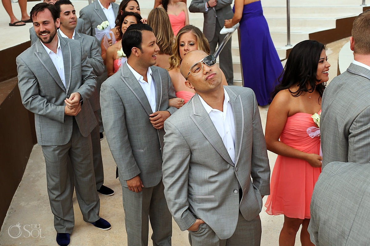 Groomsmen in Cancun in sunglasses