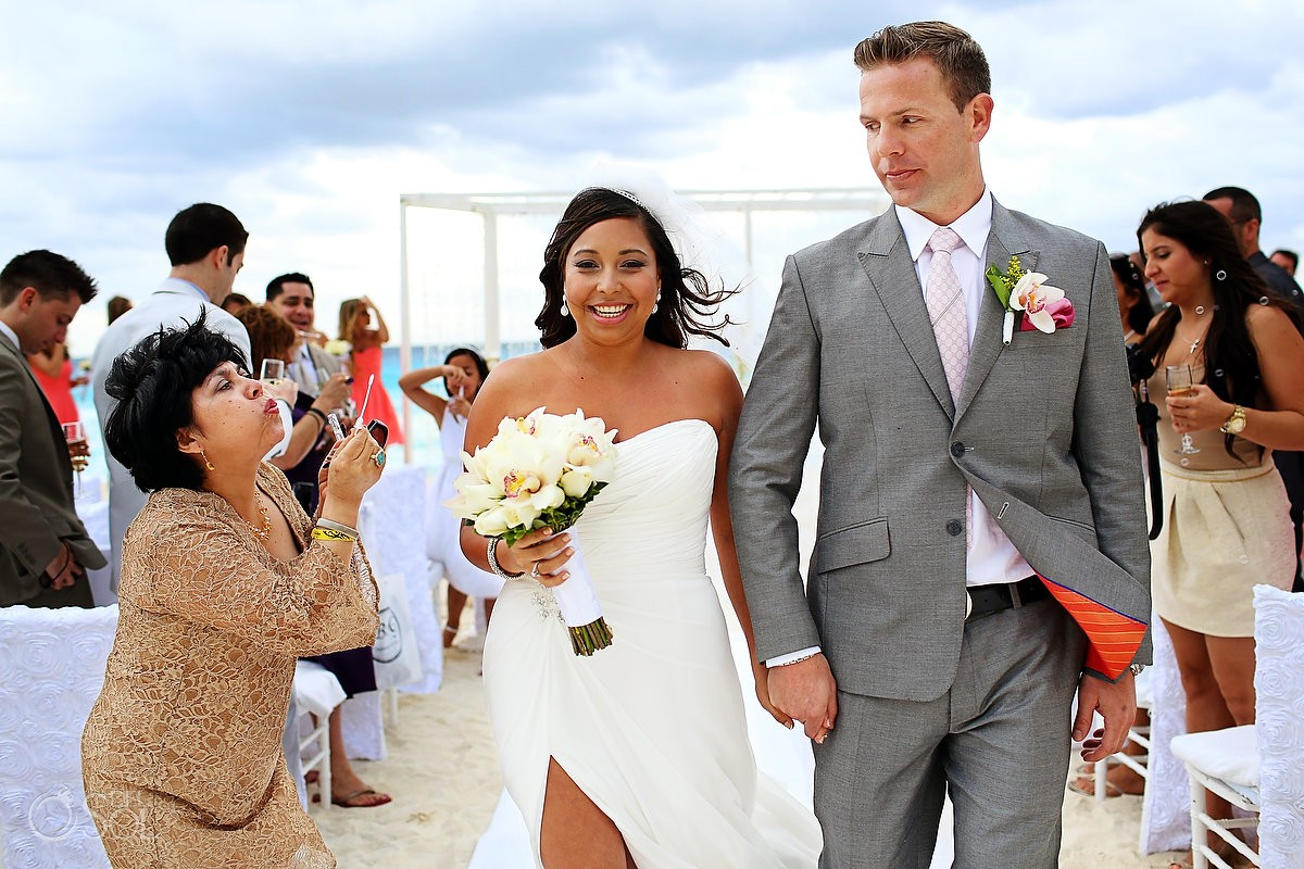 Cancun beach wedding just married
