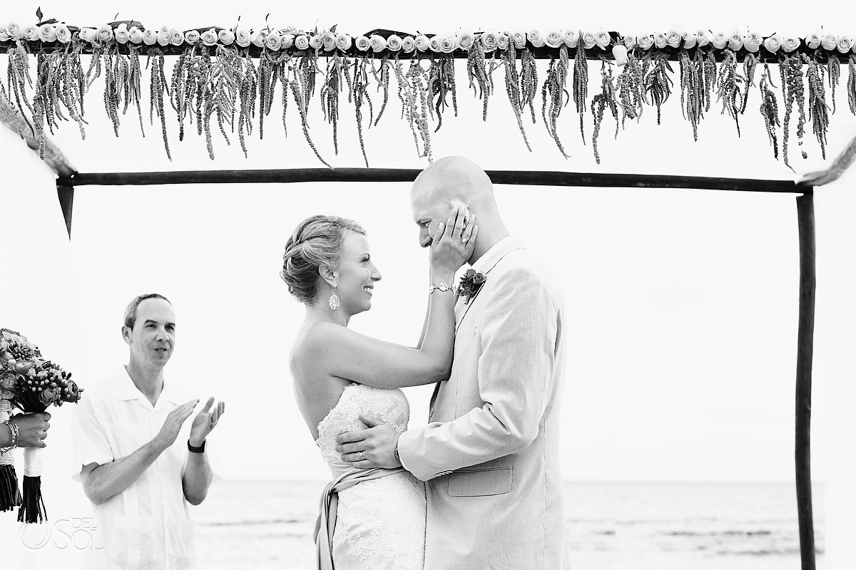 Beach bride and groom black and white