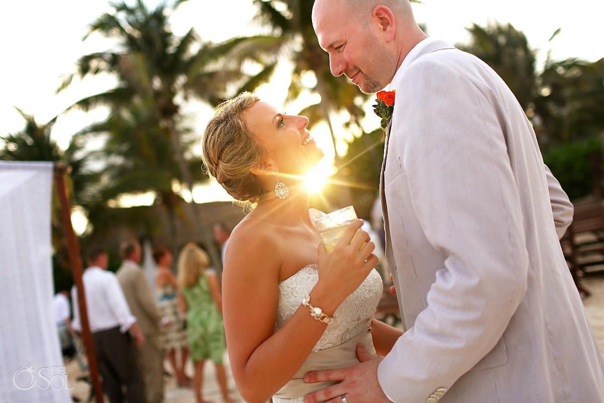 Bride and groom sunset Playa del Carmen destination wedding
