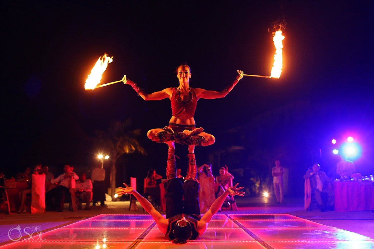 Fire show at a Cancun wedding at Moon Palace Resort