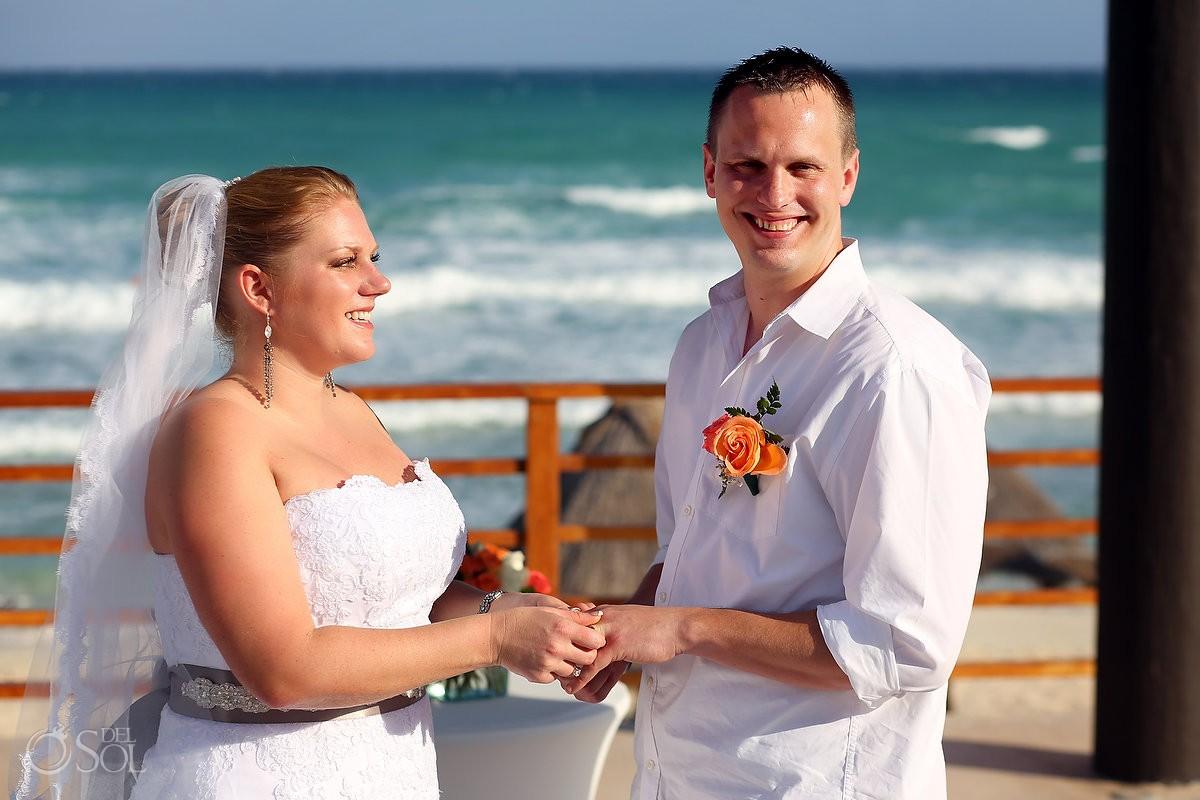 Bride and groom wedding beach oceanside