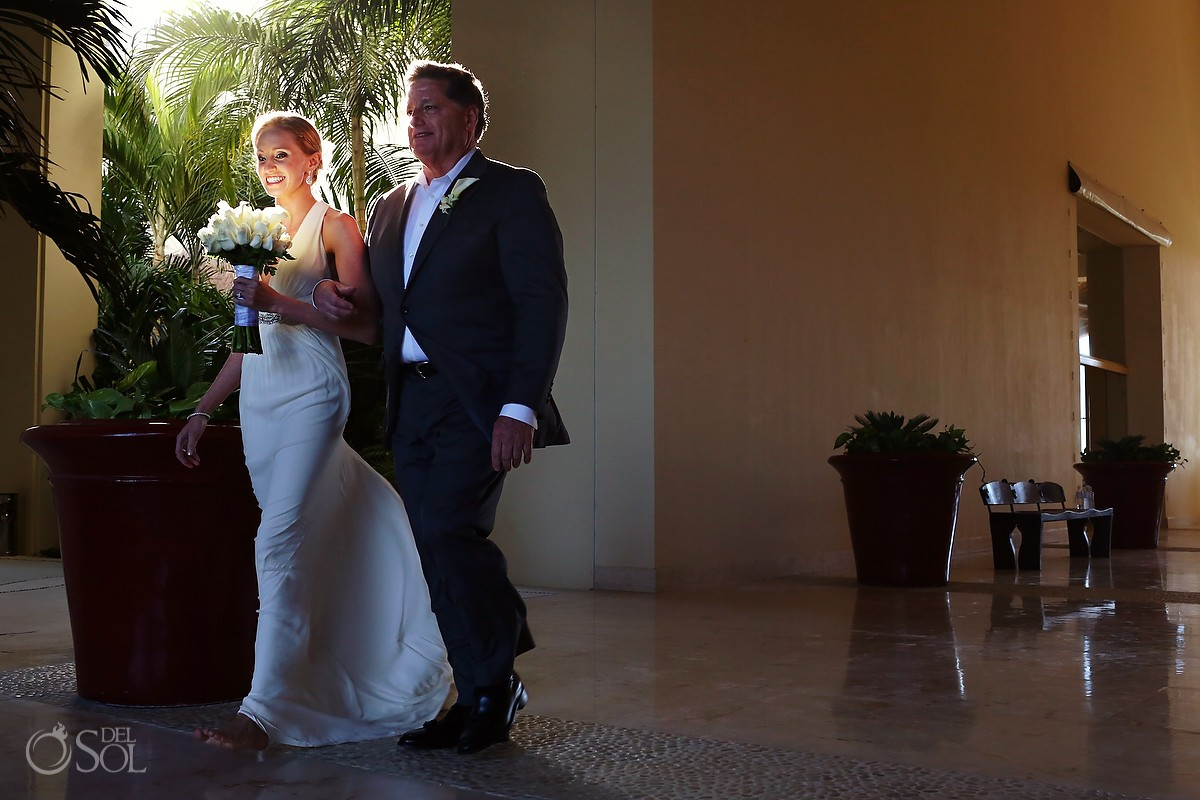 Bride and father before wedding at Grand Velas Riviera Maya
