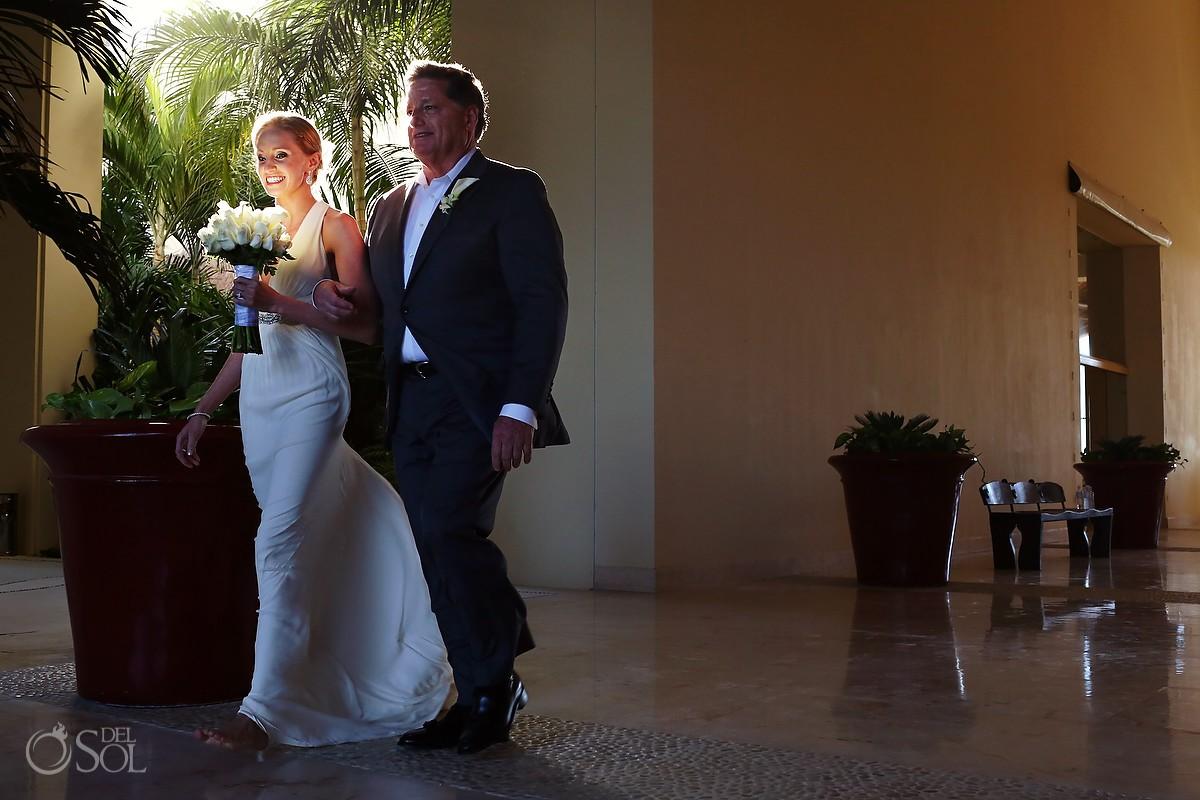 Bride and father before wedding at Grand Velas Riviera Maya