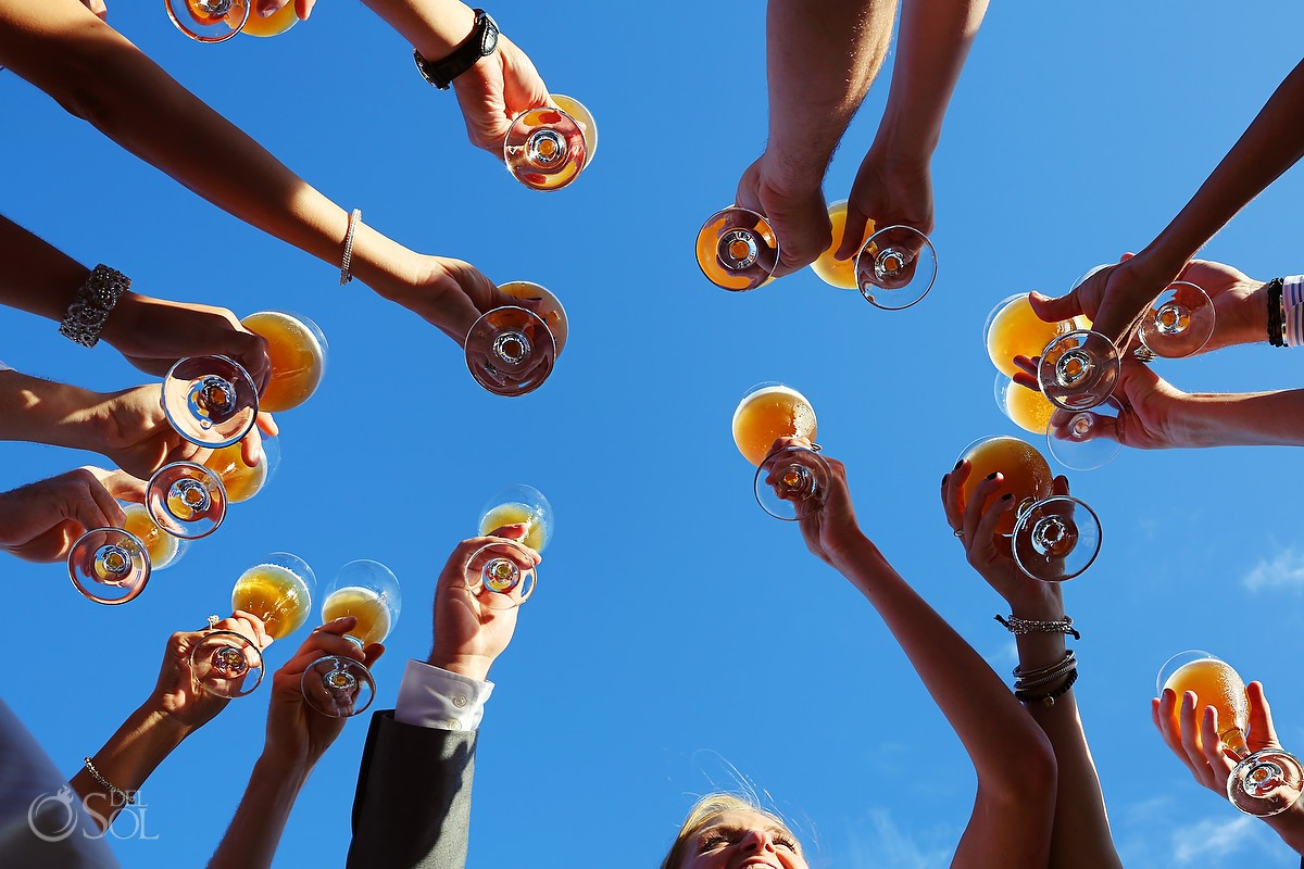 Beer toast with a blue sky backdrop