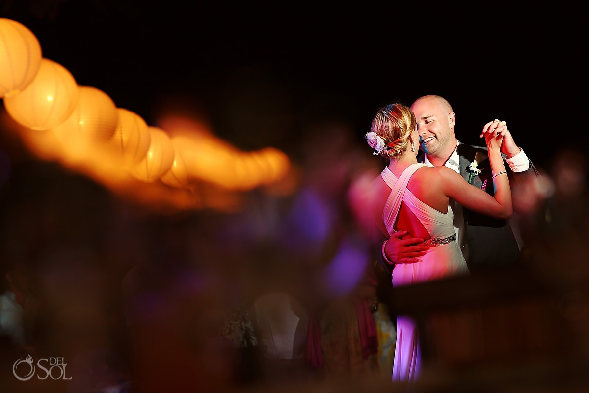 Bride and groom first dance Grand Velas Riviera Maya destination wedding