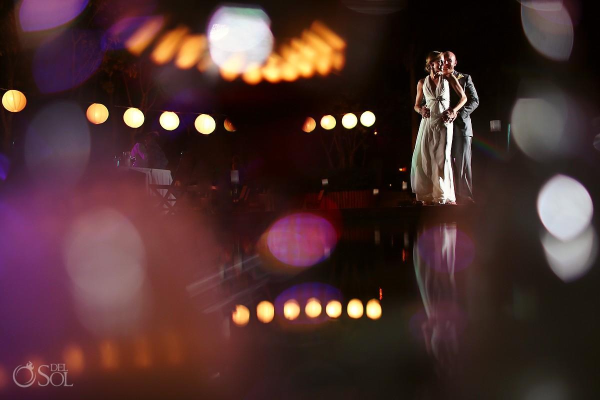 Bride and groom shadow and light at Grand Velas Resort Riviera Maya