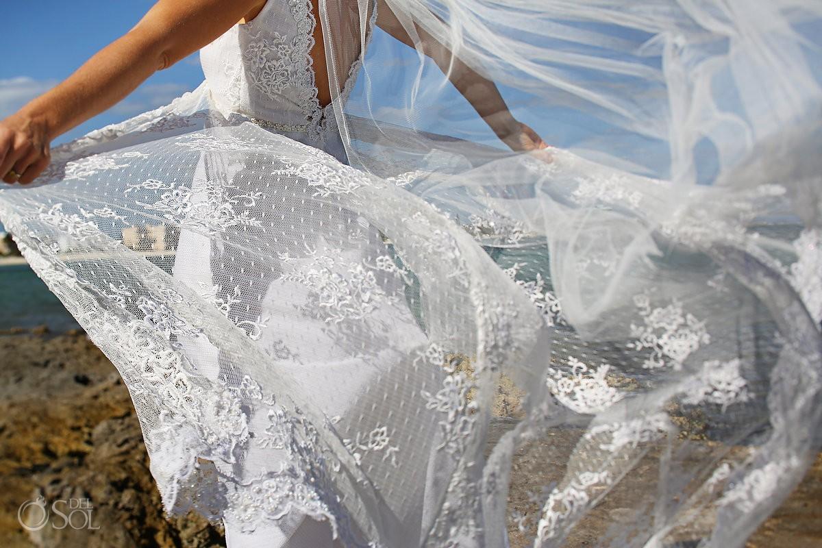 Riviera Maya wedding bride getting ready gown