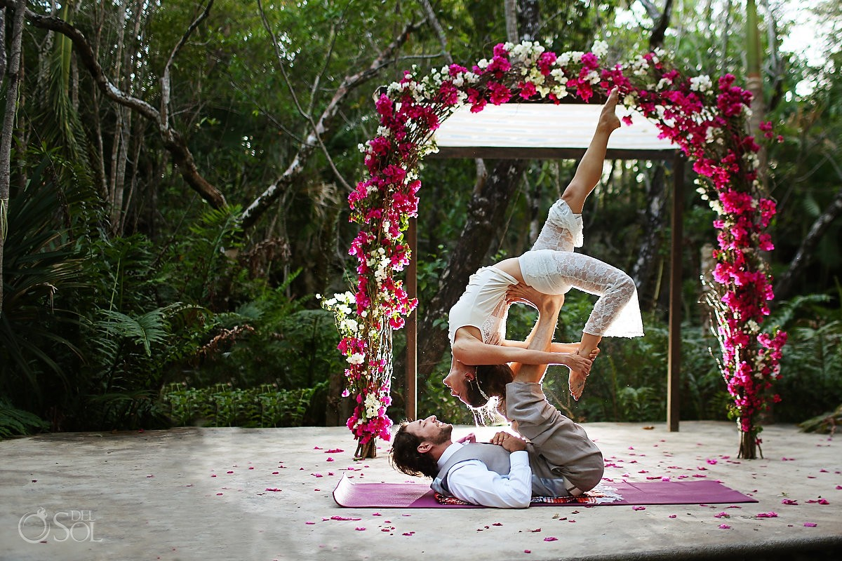 Acro Yoga performance for a destination wedding