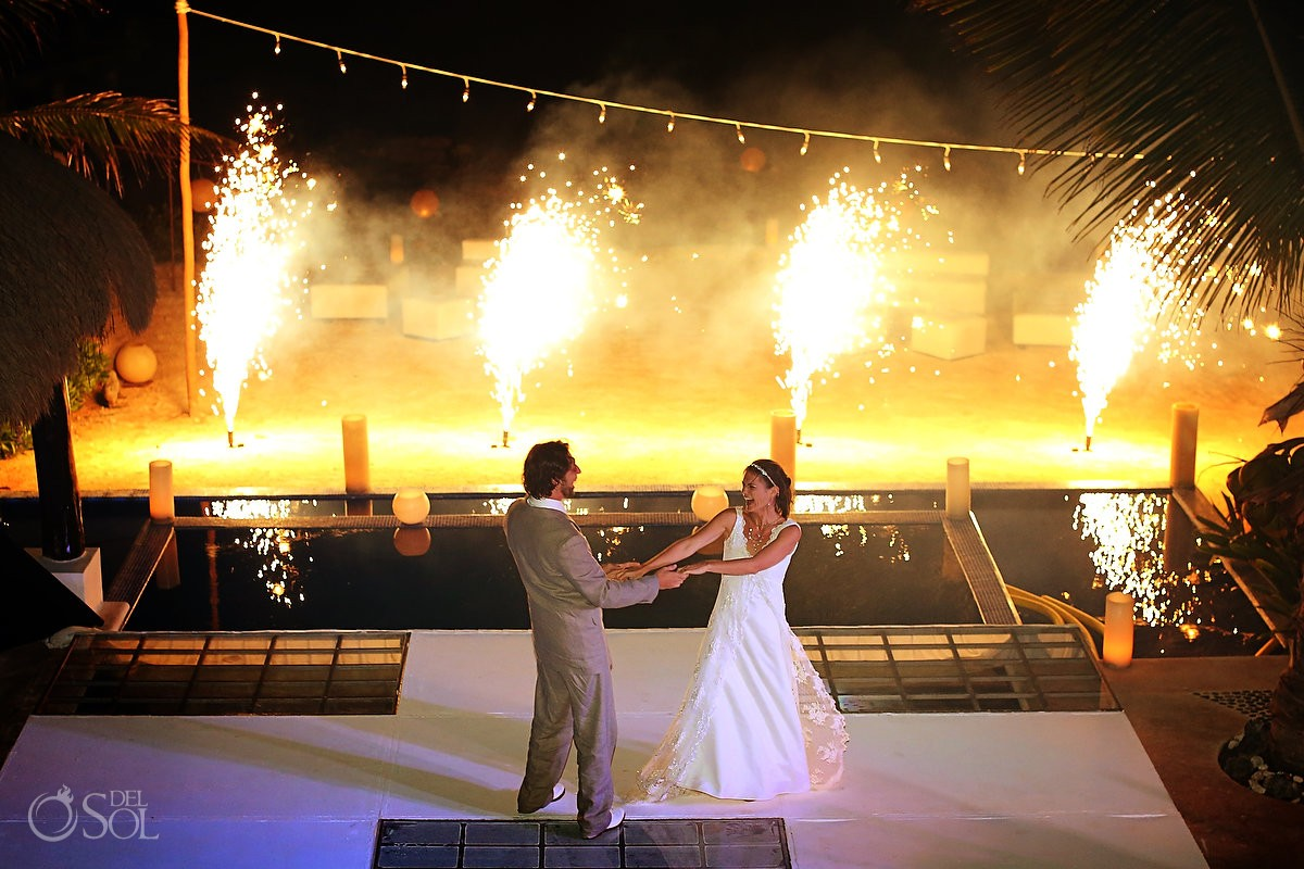 Riviera Maya wedding Villa Valhalla Akumal fireworks