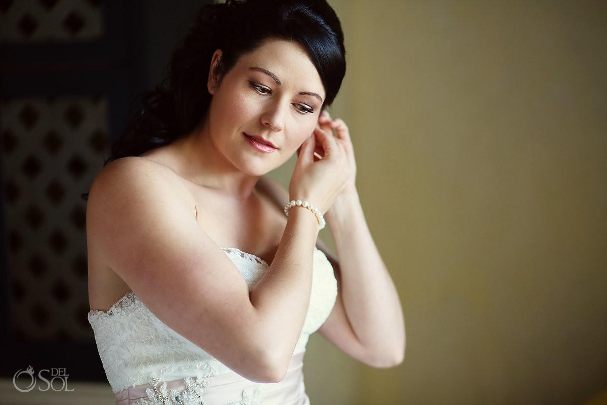 Bride getting ready at destination wedding Mexico