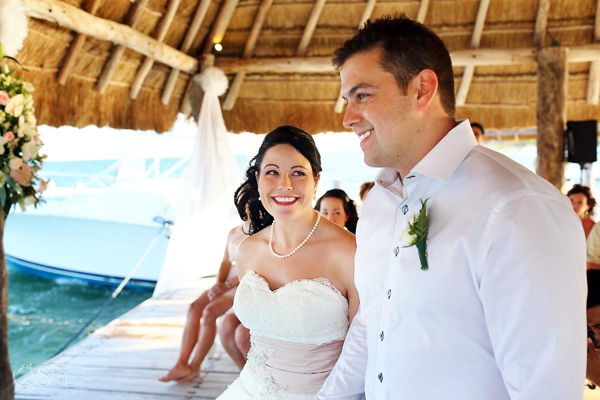 Bride and groom on dock at Destination Wedding Mexico at Zoetry Paraiso la Bonita