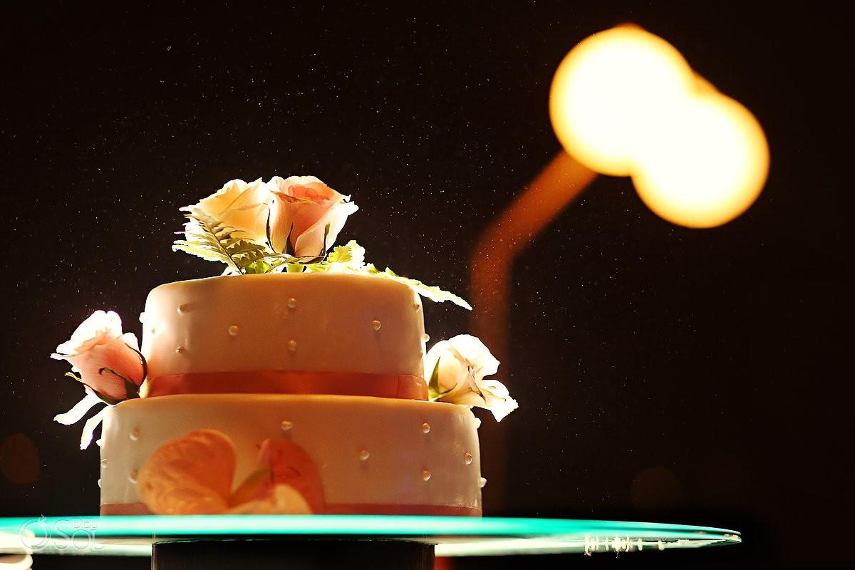Blush wedding cake with roses