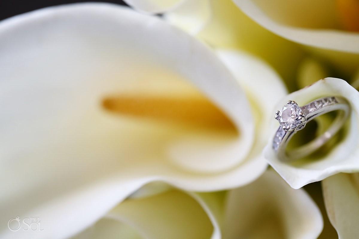 Diamond engagement ring on flower