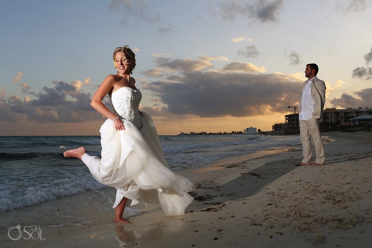 Bride groom beach sunset Riviera Maya Mexico