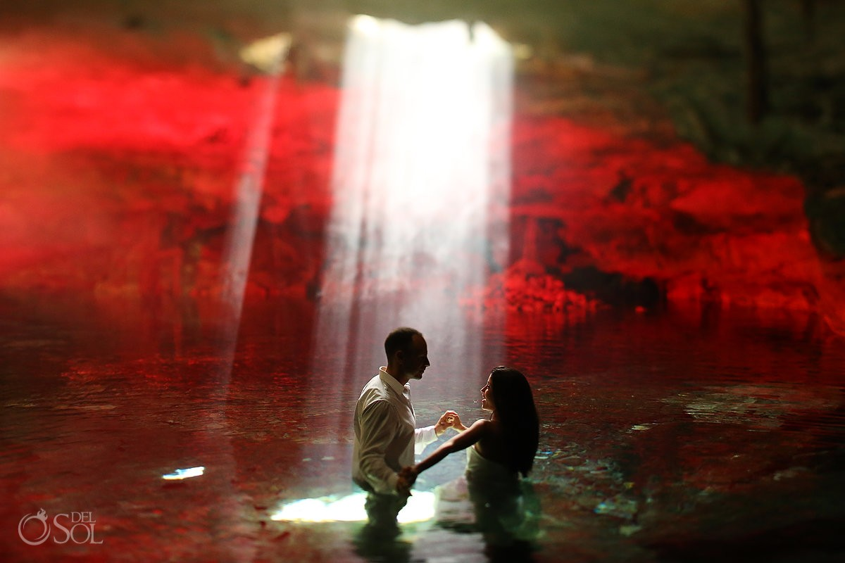 Cenote bride and groom trash the dress photo shoot