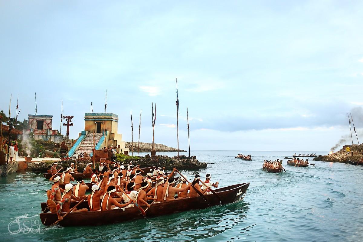 Sacred Mayan Journey canoes depart Xcaret Park