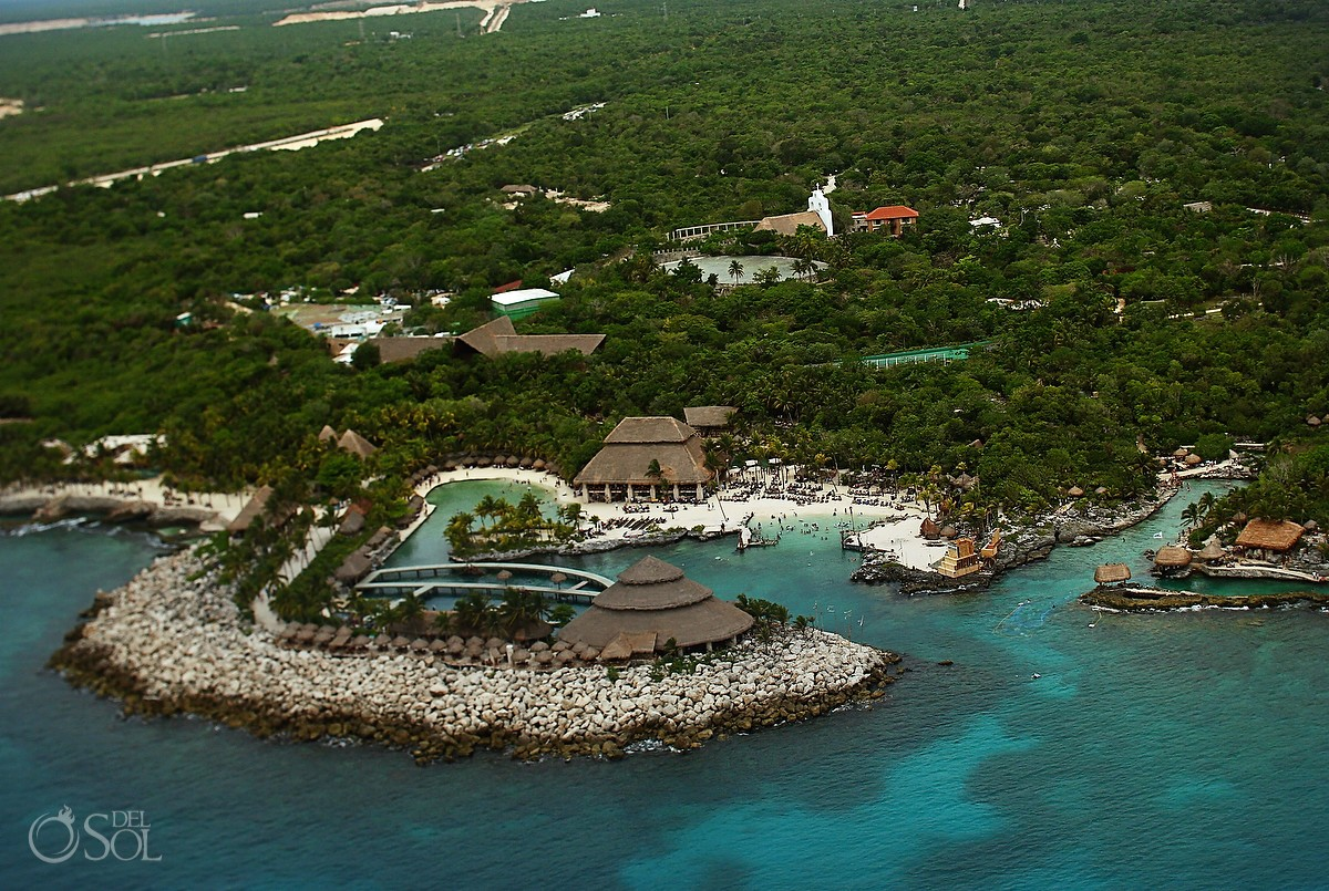 Xcaret Park aerial view from airplane