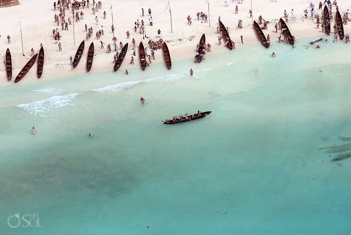Sacred Mayan Journey canoes on the beach aerial view