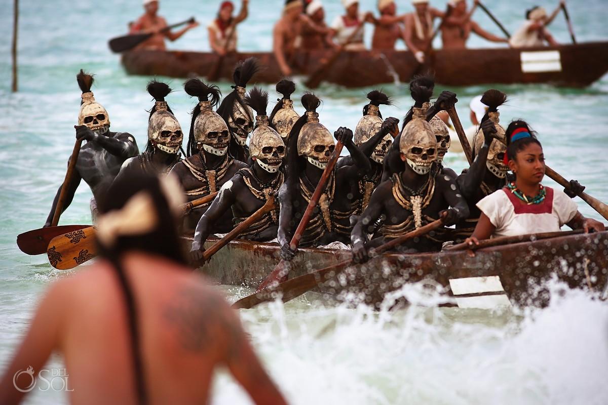 Canoeros in the Sacred Mayan Journey in skull masks