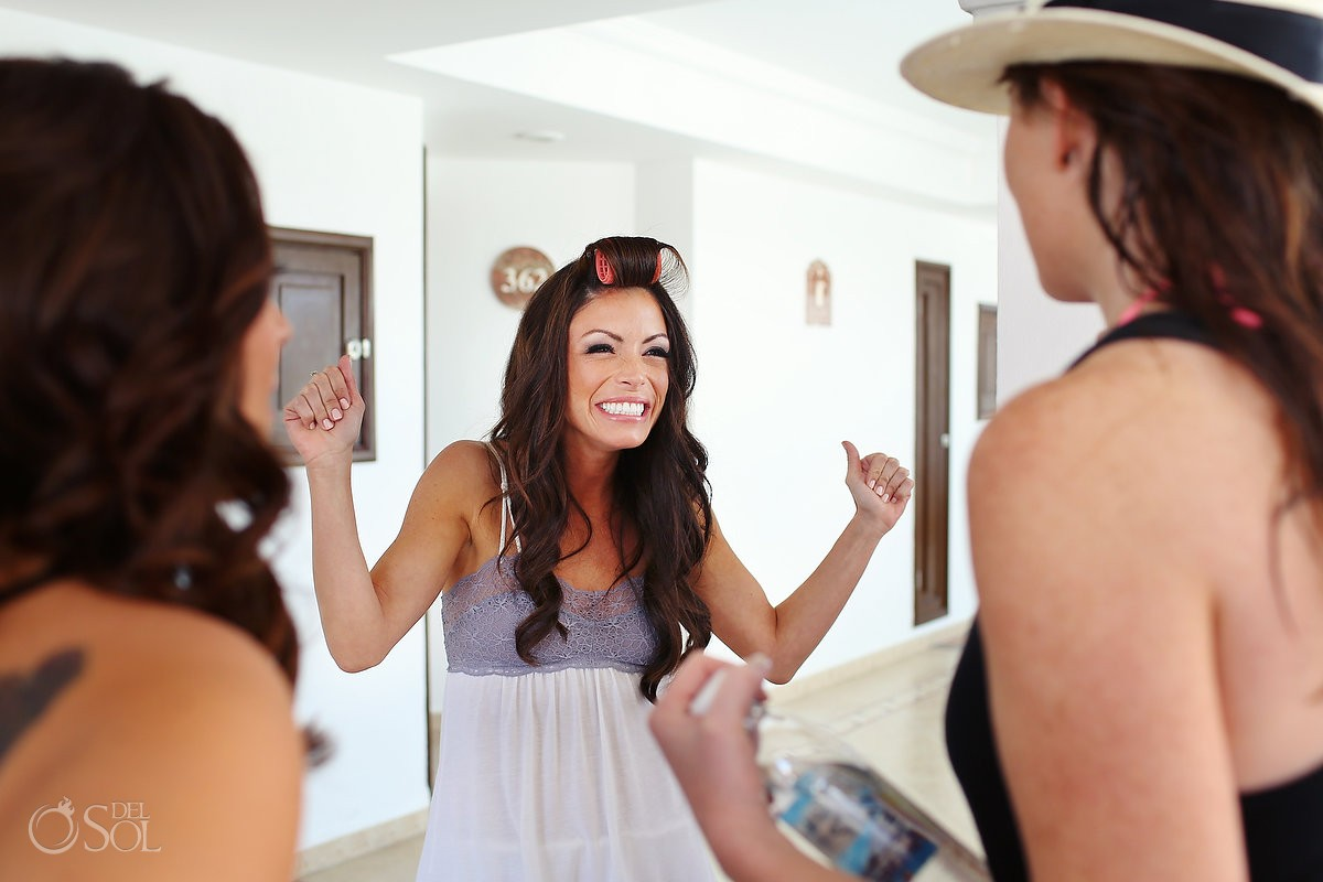 Bride getting ready for her Playa del Carmen wedding at The Royal