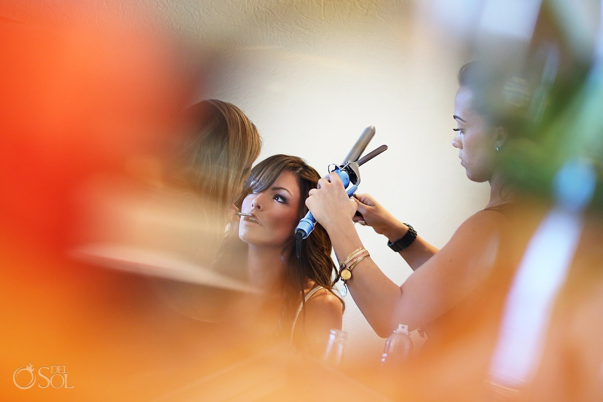 Bride getting ready for her destination wedding at The Royal Playa del Carmen