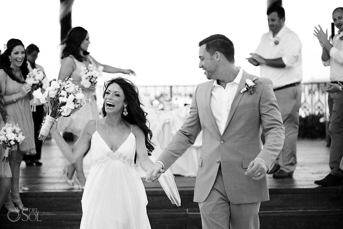 Bride and groom at a destination wedding in Playa del Carmen, Mexico