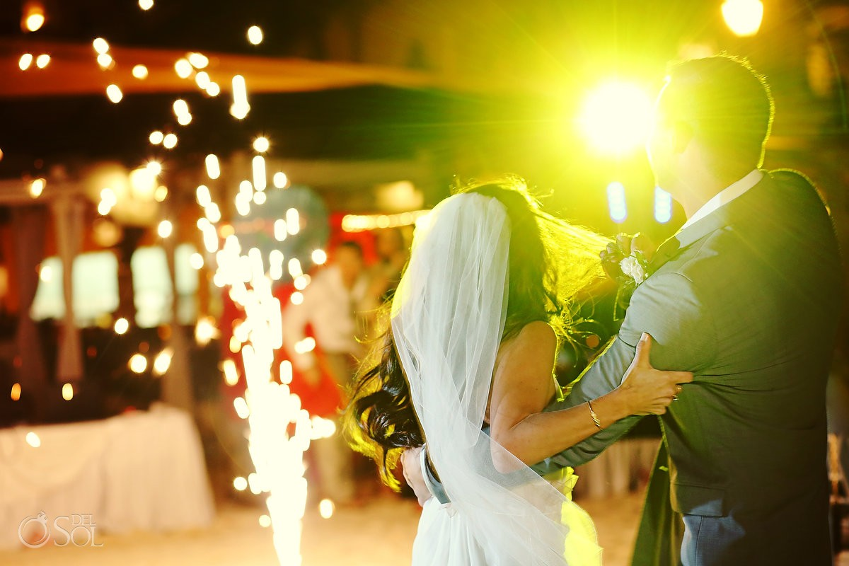 Bride and groom dance at a destination wedding at The Royal PDC