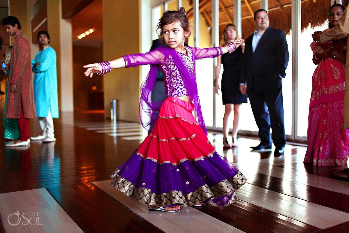 Hindi girl dancing at wedding in Mexico