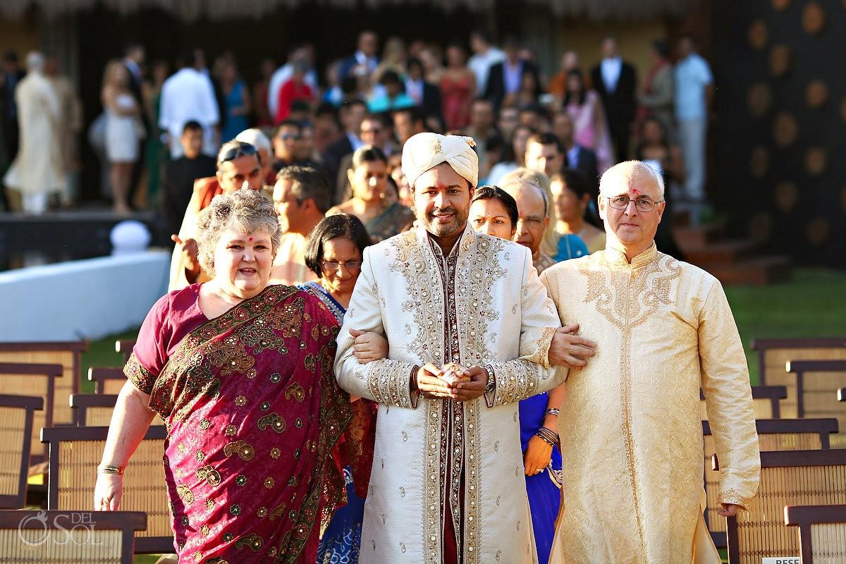Hindu groom entering the wedding