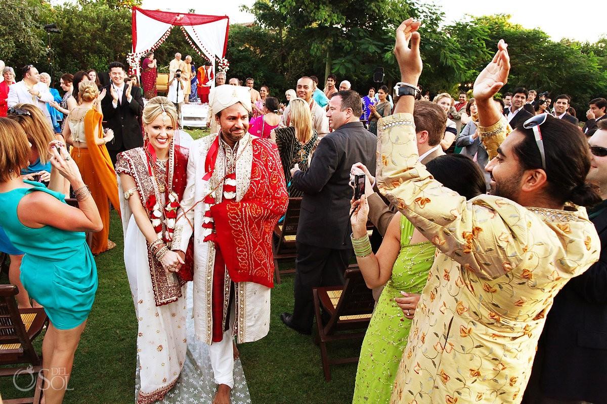 Hindu bride and groom destination wedding Riviera Maya, Mexico