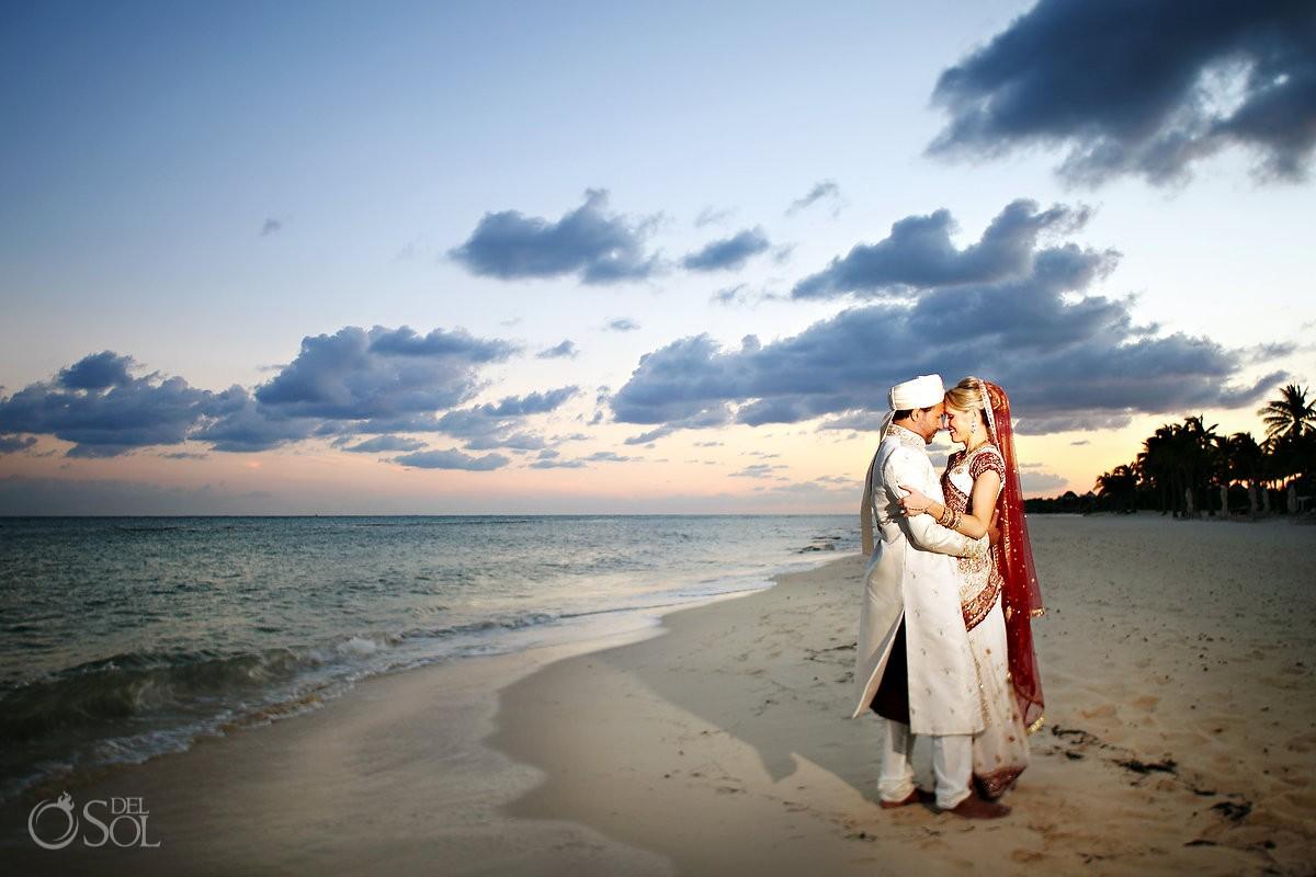 Hindu wedding beach portraits sunset bride groom traditional sari Grand Velas Resort, Riviera Maya, Mexico