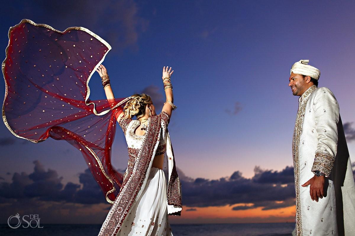 Hindu wedding beach portraits bride groom traditional sari Grand Velas Resort, Riviera Maya, Mexico